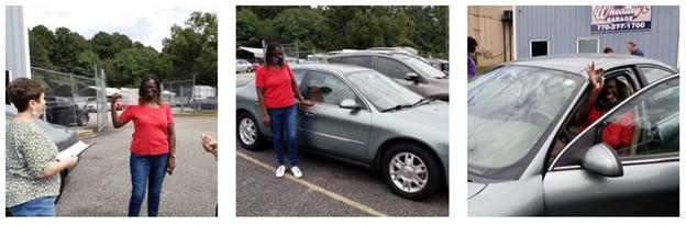 Cora F in her car